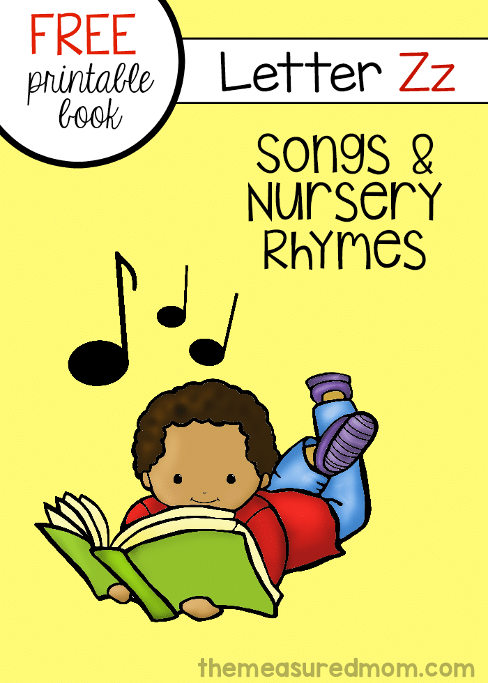 Check out this FREE little letter book with letter Z songs and rhymes!