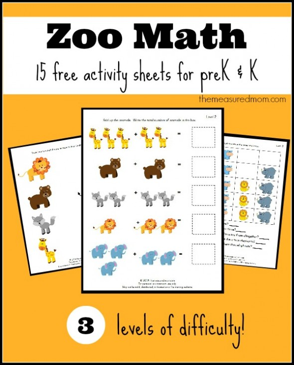 Zoo Math Activity Sheets For Prek And K