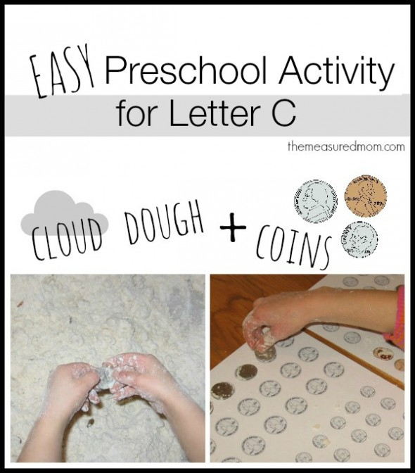 cloud dough and coins for letter c- the measured mom