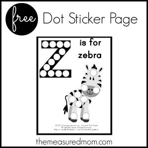 Letter Z Preschool Activity:  Z is for Zebra (dot sticker page)