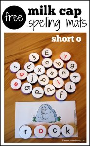 Phonics practice activity – spell with milk caps (free printable!)