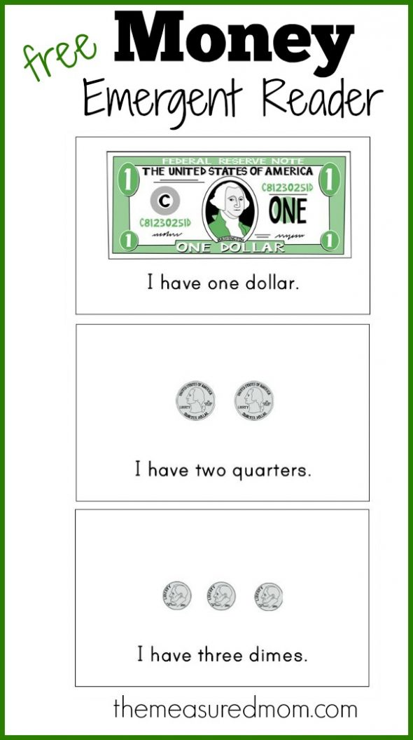 Teach kids about money in kindergarten with this free math printable! Love that the book comes in 3 different versions.
