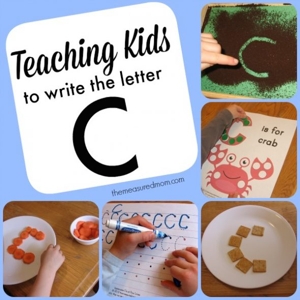 teaching kids to write the letter C - the measured mom