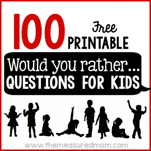 picture about Would You Rather Cards Printable identify 100 Would yourself alternatively concerns for young children - The Calculated Mother