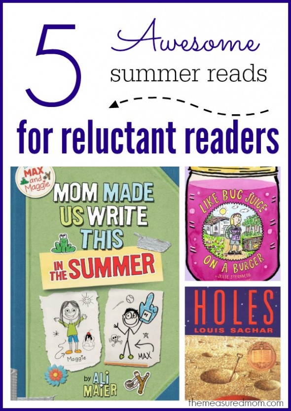 Check out these 5 summer-themed books for reluctant readers! Great for kids ages 8-12.