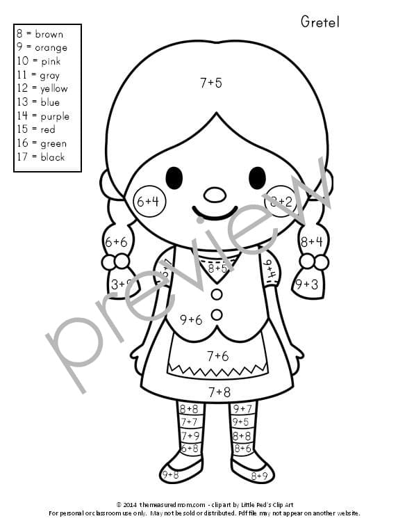 Get This Set Of 10 FREE Color By Number Addition Worksheets! They Feature  Ten Adorable