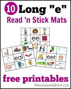 Long e activity – printable Read 'n Stick Mats