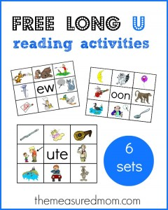Learn long u word families with these free printables!