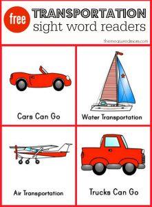 Transportation sight word readers