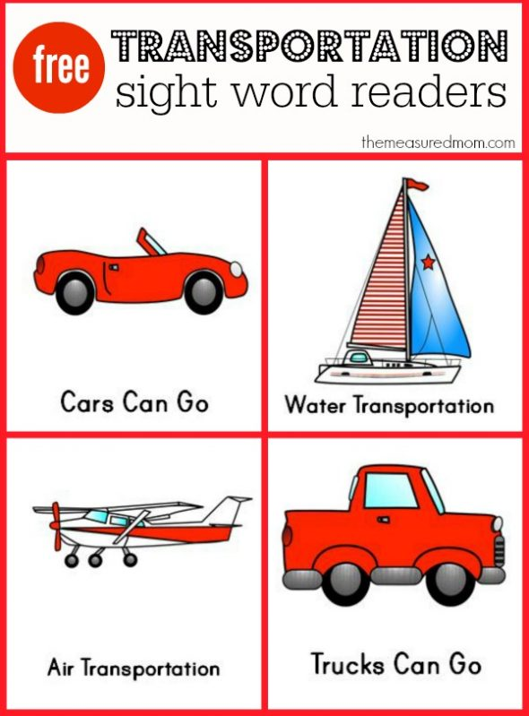 Get these set of FREE transportation sight word readers at The Measured Mom.
