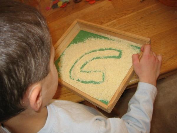 writing in cornmeal