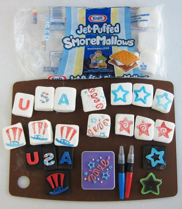 4th of July crafts - patriotic marshmallows