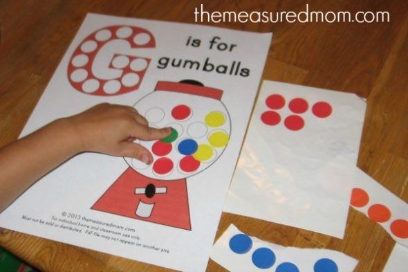 letter g gumball template  Free Alphabet Printable: G is for Gumball - The Measured Mom