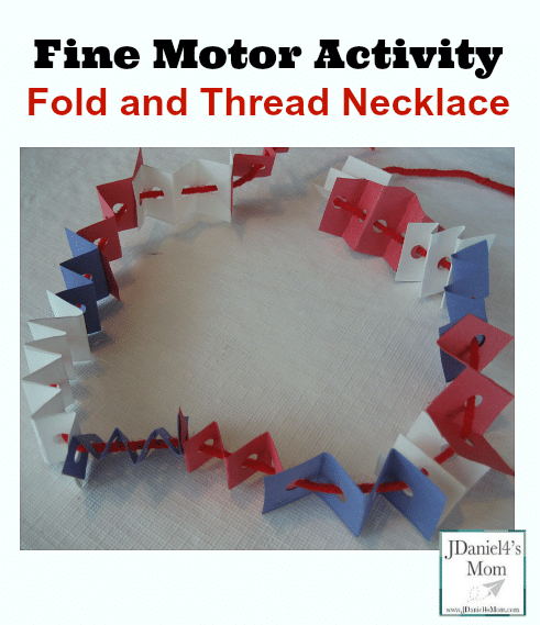 4th of July craft - fold and thread necklace