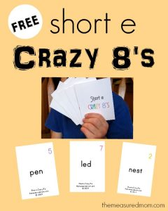 Short e word family activity – Crazy 8's!