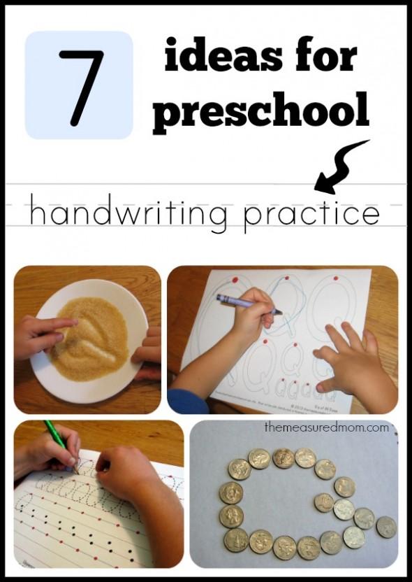 7 ideas for preschool handwriting practice