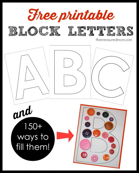 Printable block letters and over 150 ways to fill them the get this free complete set of large printable block letters for learning the alphabet plus spiritdancerdesigns Images