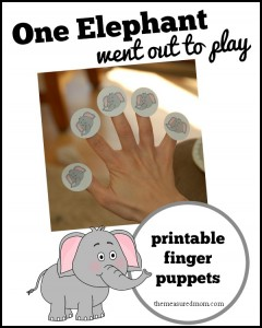 Rhymes for Kids: One Elephant Went out to Play (free finger puppets!)