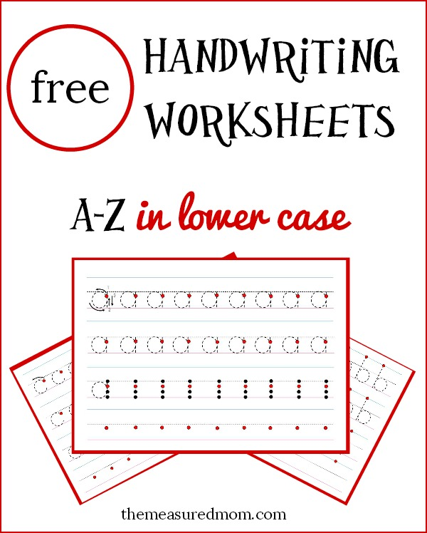 Free lowercase handwriting worksheets on four lines The – Script Handwriting Worksheets