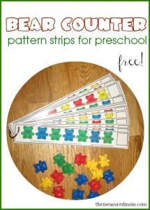 Free Bear Counter Pattern Strips for Preschoolers