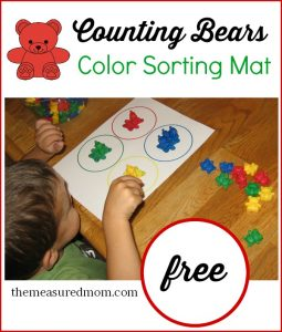 Free color sorting mat for toddlers