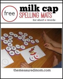 Learn to read and spell short e words with milk cap spelling mats