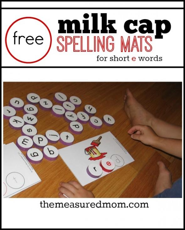 milk cap spelling mats for short e words