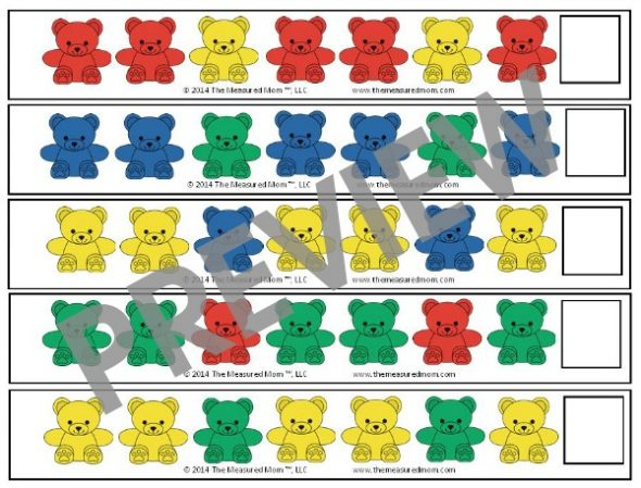 Get 25 FREE bear counter pattern strips for preschoolers!
