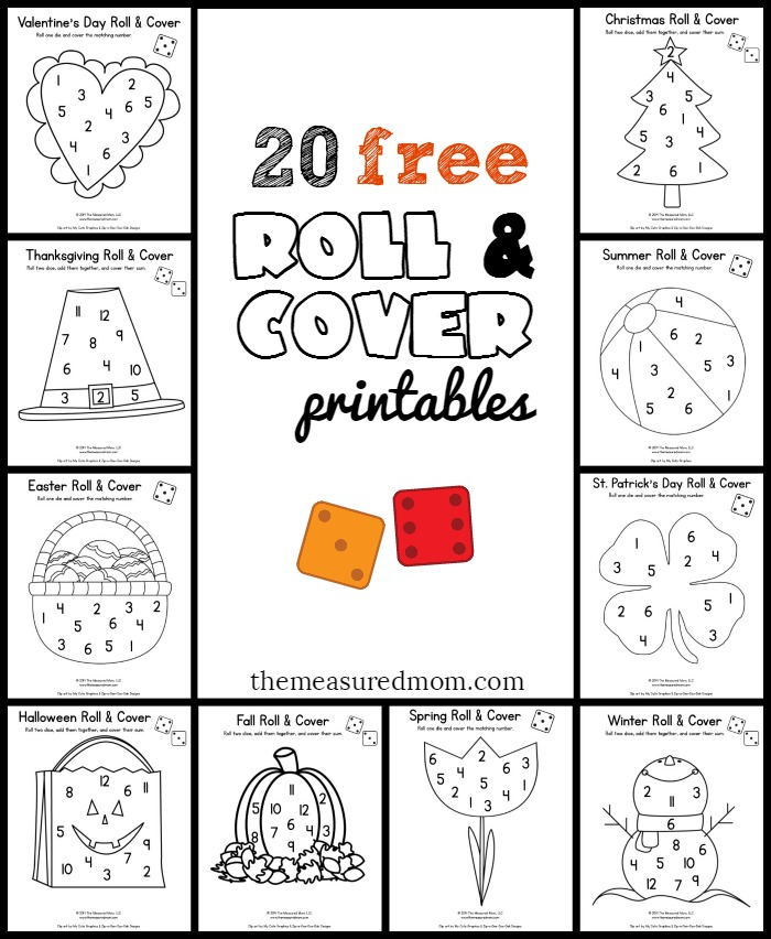 20 Free Fun Math Games Preschool Kindergarten Seasonal Roll Cover on Abc Phonics Worksheets