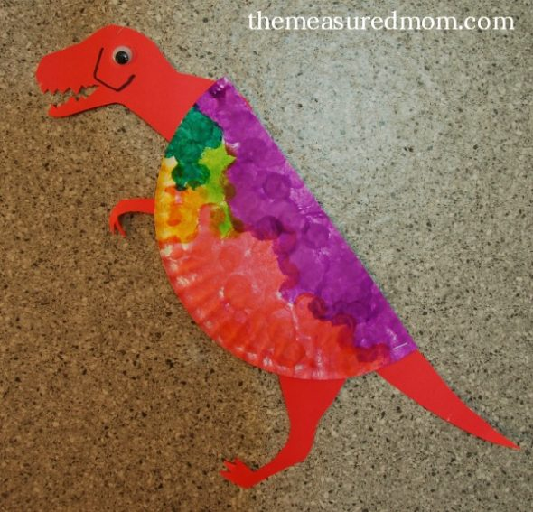 Paper Plate Dinosaur & 8 Letter D Crafts - The Measured Mom