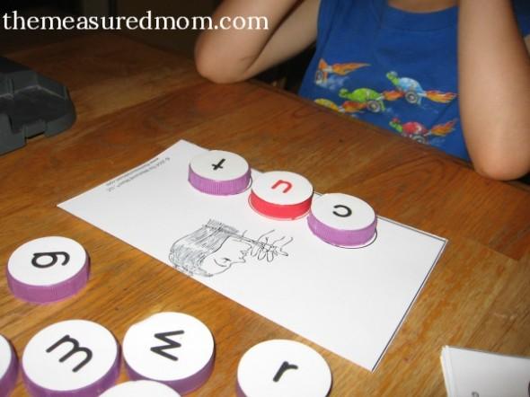 milk cap letters - spelling 2