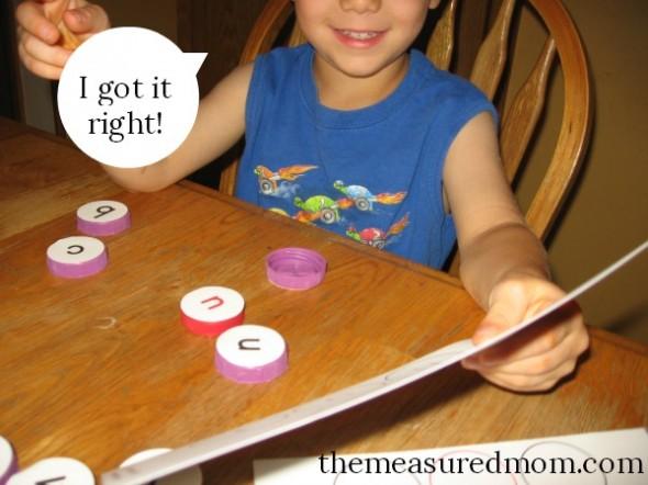 milk cap letters - spelling 4