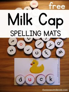 Spell short u words with milk cap letters (free printables!)