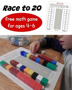 Fun math game for kids – Race to 20