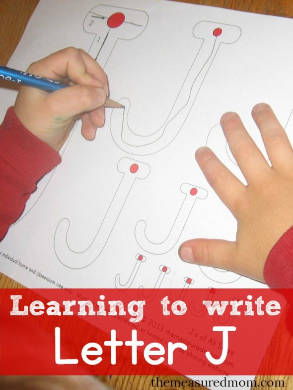 learning to write letter J