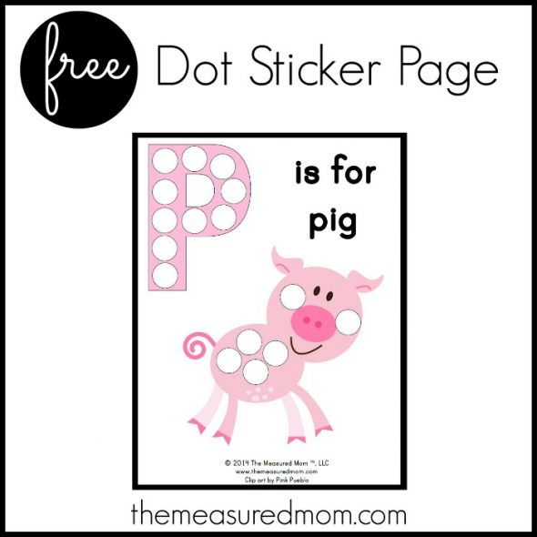 Get a free letter P printable - P is for pig!