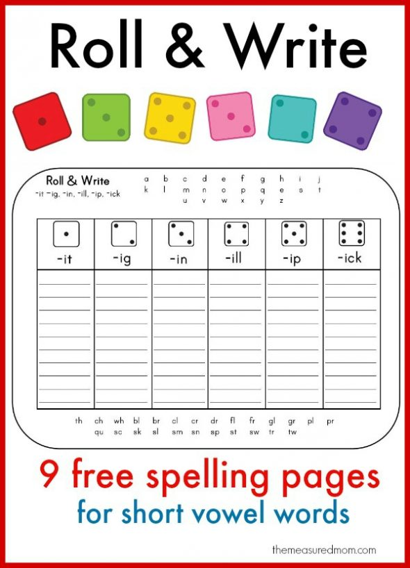 Free Phonics Activities on Roll N Write Games