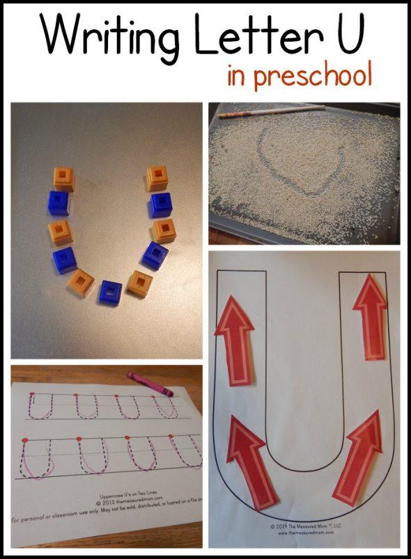 writing letter U in preschool