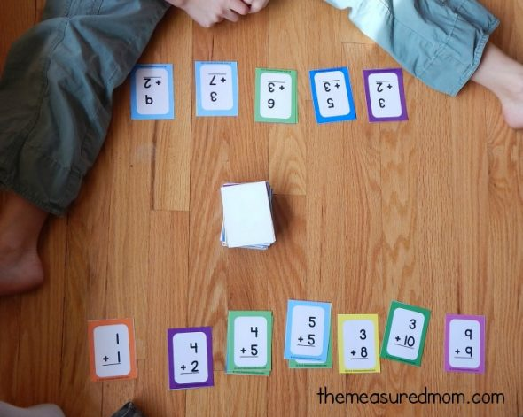 Play this simple math facts game using flashcards - works with addition, subtraction, multiplication, and division!