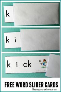 These word slider cards are perfect for beginning readers! Just print the short i words and pull them out of an envelope as your child says each sound. A fun and simple phonics activity!