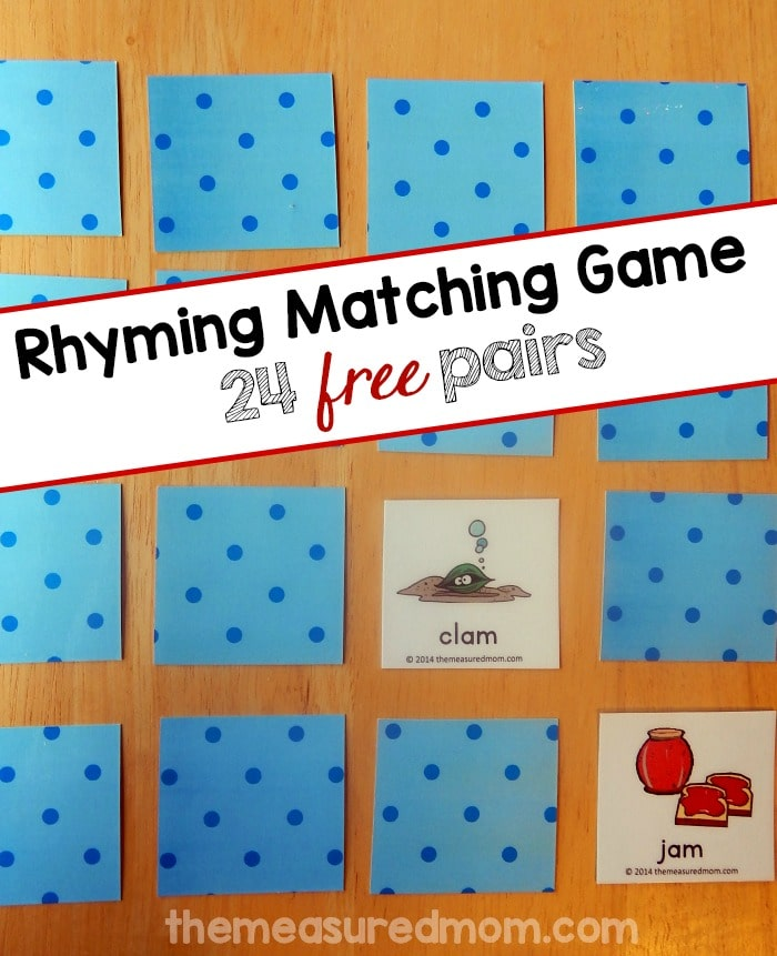 Looking for a free rhyming game? Print these 48 picture cards which include 24 rhyming pairs. Try this fun rhyming matching game with your preschooler or kindergartner!