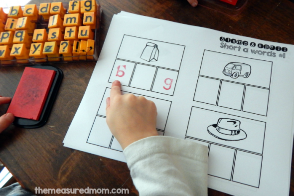 Your child can use a pencil, alphabet stamps, or letter tiles to spell the words on these 15 FREE short vowel worksheets.