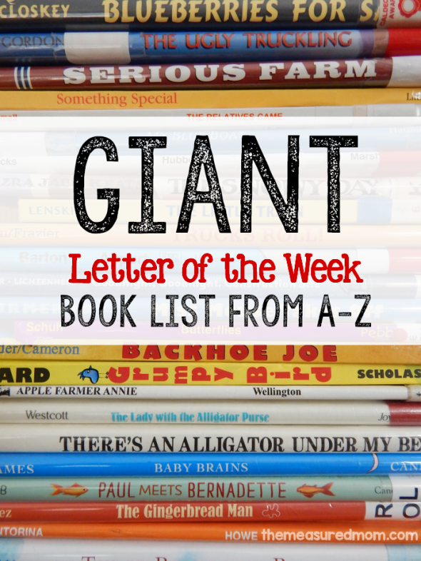 This letter of the week book list is a great resource when you're doing letter of the week activities for preschool!