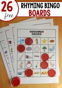 Free rhyming game: A classroom set of Rhyming Bingo!