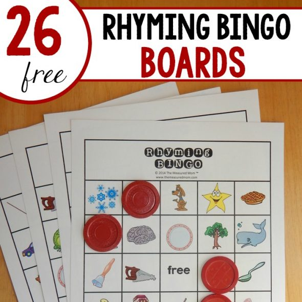 Looking for a fun rhyming game for kindergarten? Try Rhyming Bingo! 26 FREE boards!