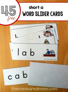 Read short a words with these free word slider cards