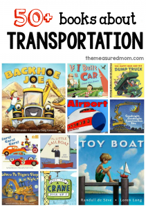 A giant list of books for a preschool transportation theme