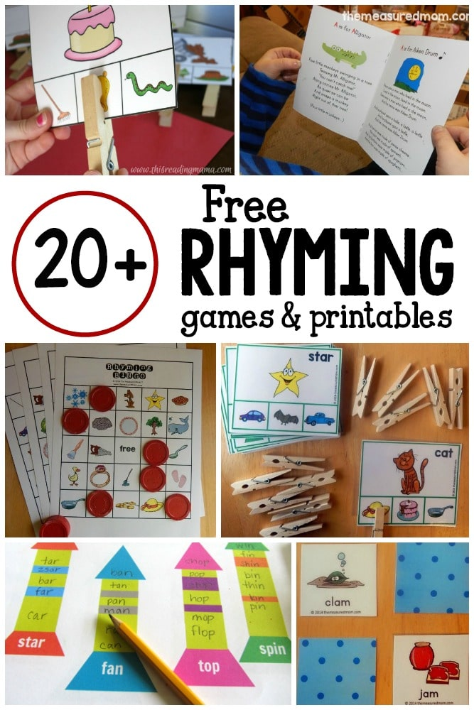 20+ games and free printables for learning rhyming words ...