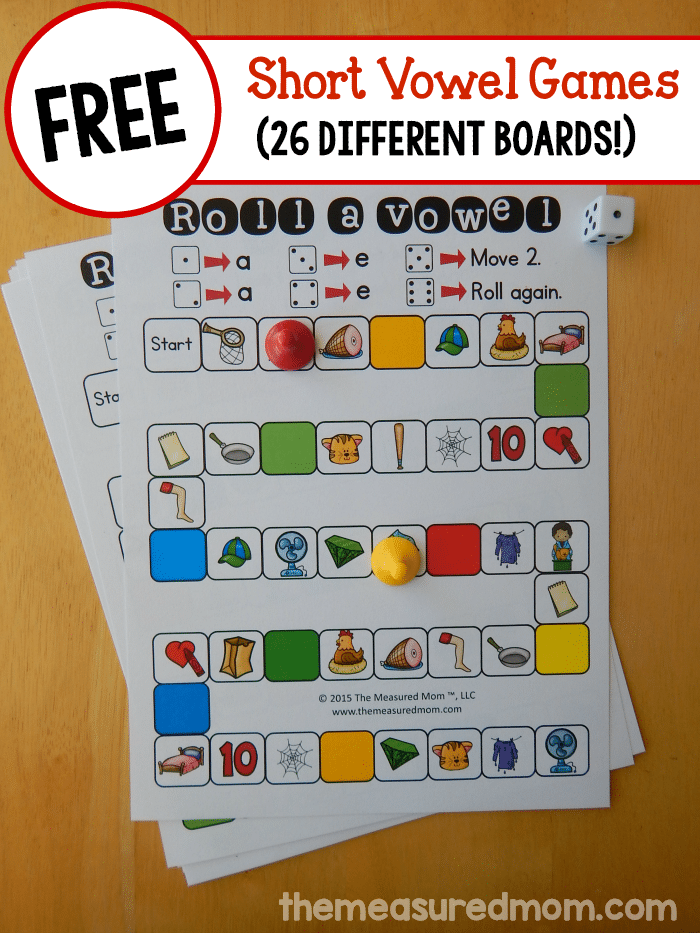 Looking to help your child learn those tricky short vowels? Print one of 26 FREE short vowel games for some low-prep practice!