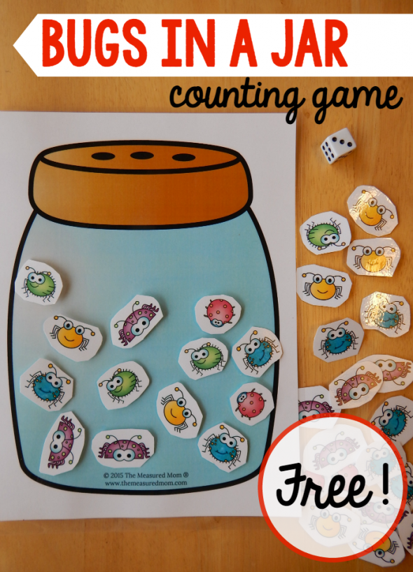 A Math Game for a Preschool Insect Theme - The Measured Mom
